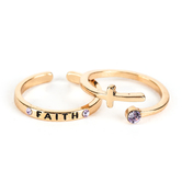 By His Grace, Cross Adjustable Wrap Ring, Zinc Alloy and Brass, Gold, 2 Pieces