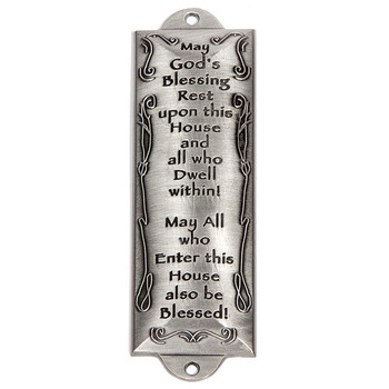 Holy Land Gifts, House Blessing Mezuzah, Pewter, 5 inches