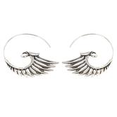 Modern Grace, Hoop with Angel Wing Dangle Earrings, Zinc Alloy, Antique Silver