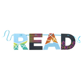 Deja Denim Collection, READ Word Banner, Multi-Colored, 12 Inch Letters