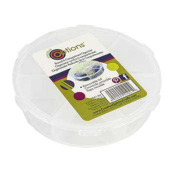 Creative Options, Round 6-Compartment Organizer, Clear, 4.25 D x 1.25 Inches, 2 Pieces