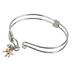 H.J. Sherman, Triple Cross Double Strand Bangle Charm Bracelet, Rhodium Plated, Silver