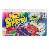 Sanford, Mr. Sketch Scented Watercolor Markers, Chisel Tip, Assorted Colors, Pack of 12