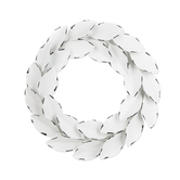 Aged Wreath Wall Art, Metal, White and Black, 20 1/2 x 21 1/2 inches