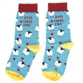 Kerusso, Jesus Loves Ewe, Unisex Crew Socks, Teal, 1 Pair, One Size Fits Most