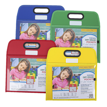 C-Line, Portable Dry Erase Pocket, Primary Colors, Assortment, 10 x 13 inches, 1 Each