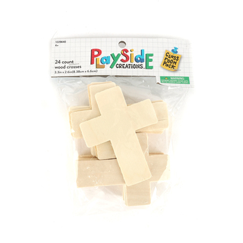 Playside Creations, Wood Cross Party Pack, Natural, 24 Count