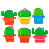 Renewing Minds, Cactus Mini Cutouts, Multi-Colored, 3 Inches, 6 Designs, 36 Pieces