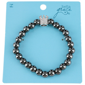 Bella Grace, Crown Beaded Bracelet, Black and Silver