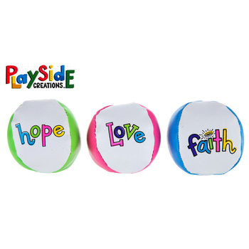 Playside Creations, Faith Hope Love Balls, Assorted Colors, 2 Inches, Pack of 6
