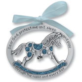 Abbey and CA Gift, Pewter Rocking Horse Crib Ornament for Boy, Silver and Blue, 2 1/2 x 2 inches