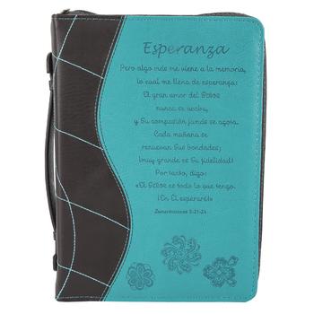 Christian Art, Lamentaciones 3:21-24 Esparanza Spanish Bible Cover, Duo-Tone, Blue & Brown, Large