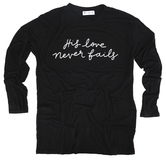 NOTW, His Love Never Fails, Women's Long Sleeve Back Yoke Top, Black and Plaid, X-Small