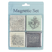 Christian Art Gifts, The Lord Will Be With You Magnet Set, 2 inches Each, 1 Each of 4 Designs