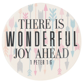 Carson Home Accents, 1 Peter 1:6 There Is Wonderful Joy Ahead Car Coaster, Absorbent Stoneware, 2   3/4 inches