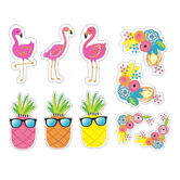 Schoolgirl Style, Simply Stylish Tropical Accents Colorful Cut-Outs, Extra Large 6.7 to 11.44 Inches, 12 Pieces