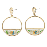Faith in Bloom, Hoop and Floral Post Earrings, Zinc Alloy and Dried Flowers, Gold