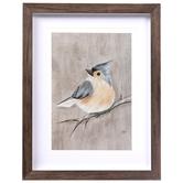 Gray Winter Bird Framed Wall Decor, Plastic, Gray, 14 x 11 x 1 3/16 inches