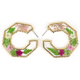 Faith in Bloom, Floral Hoop Post Earrings, Zinc Alloy and Resin, Gold, Pink and Green
