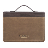 Christian Art, Philippians 4:13, Strength Bible Cover, Brown and Tan, Multiple Sizes Available