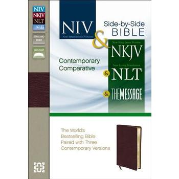 NIV NKJV NLT MSG Contemporary Comparative Parallel Bible, Bonded Leather, Burgundy