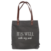 Christian Brands, It Is Well With My Soul Tote Bag, Canvas, Gray, 13 1/2 x 16 x 3 inches