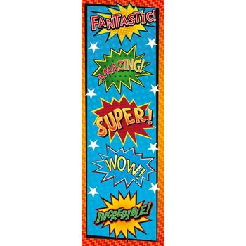 Superheroes Collection, Super Words Bookmarks, 2 x 6 Inches, Multi-Colored, Pack of 36