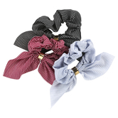 Fashion Tid Bits, Adjustable Striped Fabric Ruffled Hair Scrunchies, Red/Black/Light Blue, 1 Each of 3 Designs