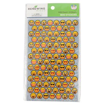 Pop Mania Collection, Mini Incentive Stickers, Multi-Colored Smiling Emojis, 1,050 Stickers