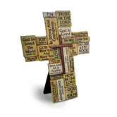 Lighthouse Christian, Stacked Stones Table Cross, Stone Resin, 5 3/4 x 7 3/4 inches