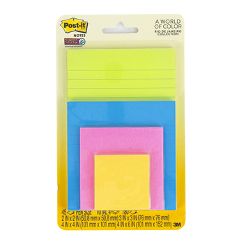 3M, Super Sticky Post-it Notes, Assorted Sizes, Rio de Janeiro Collection, 4 Pads, 45 Sheets Each
