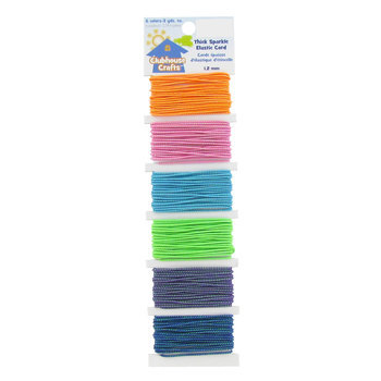 Thick Sparkle Elastic Cord, Orange, Pink, Turquoise, Green, Purple and Royal, 1.2mm, 3 yards of each color