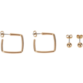 Modern Grace, Psalm 56:3 Square Hoops and Heart Stud Earring Set, Zinc Alloy, Gold, Set of 2