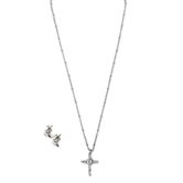Faithful and Fabulous, Bling Cross Necklace and Earring Set, Iron, Silver, 20 Inch Chain, 3 Pieces