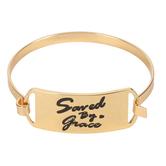 Modern Grace, Psalm 118:24 Saved By Grace Bracelet, Zinc Alloy, Gold