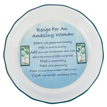 Abbey and CA Gift, Amazing Woman Pie Plate, Ceramic, Blue and Green, 10 1/2 x 2 inches
