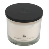 Darsee & David's, Coconut Milk & Patchouli Jar Candle, Glass & Wax, White, 5 1/4 x 4 1/2 inches