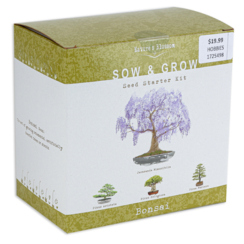 Nature's Blossom, Bonsai Sow and Grow Seed Starter Kit, 21 Pieces, Ages 6 Years and Older