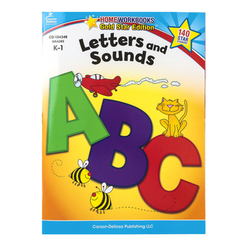 Home Workbooks Gold Star Edition Activity Book: Letters and Sounds, 64 Pages, Grades K-1