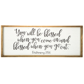 Deuteronomy 28:6 You Will Be Blessed Wall Decor, MDF, Medium Brown and Cream, 12 5/8 x 32 1/4 x 1 3/8 inches