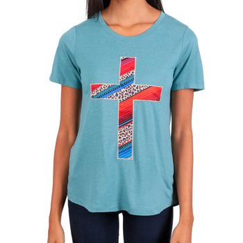Southern Grace, Embroidered Leopard Cross, Women's Short Sleeve T-shirt, Sky Blue, S-2XL