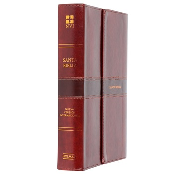 NVI Personal Size Large Print Reference Spanish Bible, Imitation Leather, Brown, Magnetic Flap