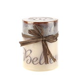 Believe Printed Pillar Candle, Malted Cream Scent, 3 x 4 inches