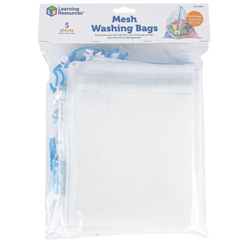 Learning Resources, Mesh Washing Bags, Sheer White, 12 x 14 Inches, Set of 5
