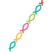 Renewing Minds, Die-Cut Border Trim, 38 Feet, Multi-Colored Icthus (Fish) Pattern