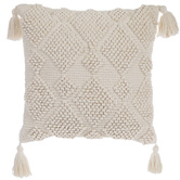 Diamond Pattern Square Pillow with Tassels, Cotton, Ivory, 18 x 18 x 5 inches
