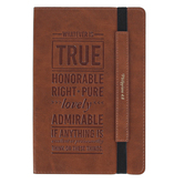 Christian Art Gifts, Philippians 4:8 Whatever Is True Journal, Brown, 160 Dotted Pages
