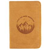 Christian Art Gifts, Faith Can Move Mountains Pocket-sized Journal, Leather, Tan, 192 Pages