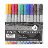 Mini Fineliner Marker Set, Fine Tip, 1 Each of 12 Colors