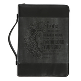 Christian Art, Joshua 1:9 Be Strong Lion Bible Cover, Black and Gray, Multiple Sizes Available